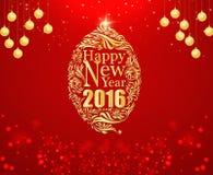 Gelukkig nieuw jaar en gouden bal rode achtergrond Stock Foto