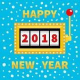 Gelukkig nieuw jaar 2018 Geïsoleerd op wit Gouden het gloeien lamplicht Pot Rode handvathefboom Groot winst Online casino, het go Royalty-vrije Stock Afbeelding