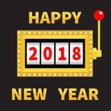 Gelukkig nieuw jaar 2018 Geïsoleerd op wit Pot Het gouden Gloeien stock illustratie
