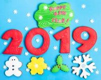 Gelukkig nieuw jaar 2019, gelukkige blije 2019 stock afbeeldingen