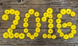 Gelukkig nieuw jaar 2016 gemaakt van bloemen Royalty-vrije Stock Afbeelding