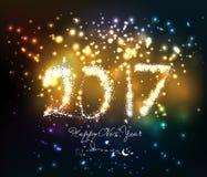 Gelukkig nieuw jaar 2017 geschreven met Fonkelingsvuurwerk Stock Foto