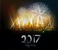Gelukkig nieuw jaar 2017 geschreven met Fonkelingsvuurwerk Stock Foto's