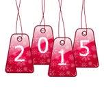 Gelukkig nieuw jaar, glanzende die etiketten op witte achtergrond worden geïsoleerd Stock Afbeelding