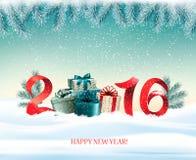 Gelukkig nieuw jaar 2016! Het nieuwe malplaatje van het jaarontwerp Stock Afbeelding