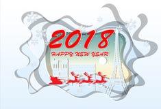 Gelukkig nieuw jaar 2018 Illustratie van de Oriëntatiepunten van Parijs, document art. Royalty-vrije Stock Fotografie