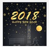 Gelukkig nieuw jaar 2018 Illustratie van de Oriëntatiepunten van Taiwan Gouden en zwarte kleurentoon Stock Foto's