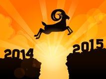 Gelukkig nieuw jaar 2015 jaar van geit Een geit springt vanaf 2014 tot 2015 Stock Foto's