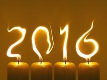 Gelukkig nieuw jaar 2016 - kaarsen Stock Foto
