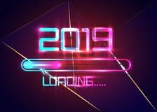 Gelukkig nieuw jaar 2019 met blauwe het neonstijl van het ladingspictogram Vooruitgangsbar die bijna nieuwe jaar` s vooravond ber vector illustratie