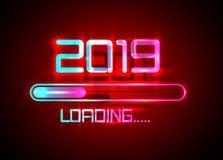 Gelukkig nieuw jaar 2019 met blauwe het neonstijl van het ladingspictogram Vooruitgangsbar die bijna nieuwe jaar` s vooravond ber royalty-vrije illustratie
