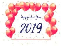 Gelukkig nieuw jaar 2019 met creatief roze ballonconcept voor exemplaarruimte Minimaal concept bannermalplaatje, vlieger, het beg royalty-vrije illustratie