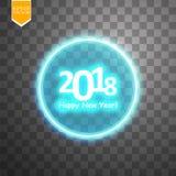 Gelukkig nieuw jaar 2018 met doel op transparante backgraundachtergrond Stock Foto's