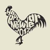 gelukkig nieuw jaar 2017 met haan stock illustratie
