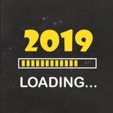 Gelukkig nieuw jaar 2019 met het neonstijl van het ladingspictogram Vooruitgangsbar die bijna nieuwe jaar` s vooravond bereiken i stock illustratie