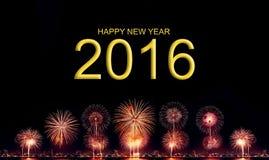 Gelukkig nieuw jaar 2016 met Hoge resolutievuurwerk Stock Foto's
