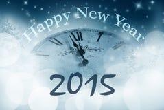 Gelukkig nieuw jaar met horloge dicht bij middernacht Royalty-vrije Stock Afbeelding