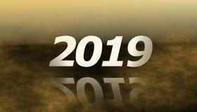 2019 Gelukkig nieuw jaar met mist vector illustratie