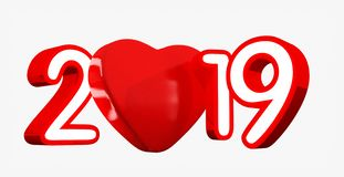 Gelukkig nieuw jaar 2019 met rood hart en rode die aantallen, 3D illustratie, op wit wordt geïsoleerd vector illustratie