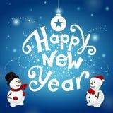 Gelukkig nieuw jaar met snowmans vector illustratie