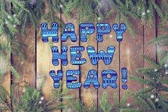 Gelukkig nieuw jaar! Nieuw jaar of Kerstkaart Stock Afbeeldingen