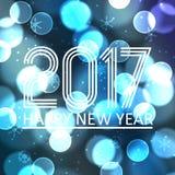 Gelukkig nieuw jaar 2017 op de blauwe achtergrond eps10 van de bokehcirkel Royalty-vrije Stock Afbeeldingen
