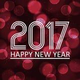 Gelukkig nieuw jaar 2017 op de donkere achtergrond eps10 van de bokehcirkel Royalty-vrije Stock Fotografie