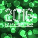 Gelukkig nieuw jaar 2016 op de groene achtergrond eps10 van de bokehcirkel Stock Fotografie