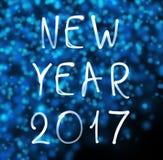 Gelukkig nieuw jaar 2017 op sneeuwvlokkenachtergrond Royalty-vrije Stock Afbeeldingen