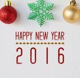 Gelukkig nieuw jaar 2016 op witte achtergrond Stock Foto