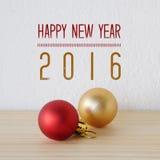 Gelukkig nieuw jaar 2016 op witte achtergrond met ornamenten Royalty-vrije Stock Afbeelding