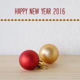 Gelukkig nieuw jaar 2016 op witte achtergrond met ornamenten Stock Afbeelding