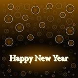 Gelukkig nieuw jaar op zwarte achtergrond Stock Afbeeldingen