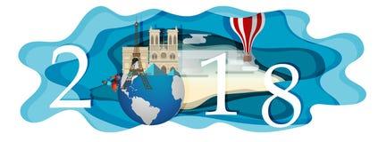 Gelukkig nieuw jaar 2018 Oriëntatiepunten van Frankrijk op de bol Document art. Stock Fotografie