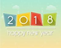 Gelukkig nieuw jaar 2018 over hemelachtergrond stock illustratie