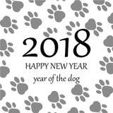 Gelukkig nieuw jaar 2018 Paw Print Background Vector illustratie Stock Afbeeldingen