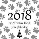 Gelukkig nieuw jaar 2018 Paw Print Background Vector illustratie Royalty-vrije Stock Afbeeldingen