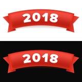 Gelukkig nieuw jaar 2018 Nieuw jaar rood lint met nummer 2018 Stock Foto