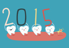 Gelukkig nieuw jaar van familie tand Royalty-vrije Stock Foto's