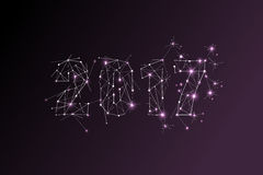 2017 Gelukkig nieuw jaarsymbool het ontwerp van de puntlijn cyberspace concept Royalty-vrije Stock Foto