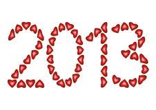 Gelukkig Nieuwjaar 2013 gemaakt van harten Royalty-vrije Stock Afbeeldingen