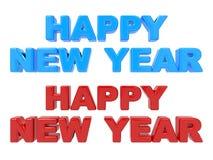 Gelukkig Nieuwjaar, 3D Rood van de Tekst en Blauw. Royalty-vrije Stock Fotografie