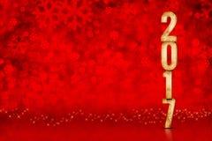 Gelukkig Nieuwjaar 2017 aantal bij rode het fonkelen bokeh lichten, verlof s Royalty-vrije Stock Foto