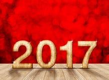 Gelukkig Nieuwjaar 2017 aantal in perspectiefruimte met rode sparklin Stock Foto's