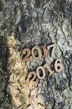 Gelukkig Nieuwjaar 2016, aardconcept en houten aantalidee Stock Fotografie