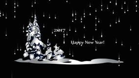 Gelukkig Nieuwjaar 2017, animatie de verschijning van de deeltjes Gelukkig Nieuwjaar stock video