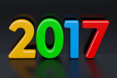Gelukkig Nieuwjaar 2017 concept, het 3D teruggeven op zwarte rug Stock Afbeelding