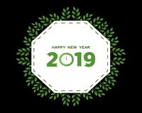 2019 Gelukkig Nieuwjaar creatief ontwerp voor uw groetenkaart, vliegers, uitnodiging, affiches, brochure, banners, kalender Vecto stock illustratie