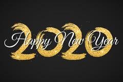 Gelukkig Nieuwjaar 2020 De aantallen van gouden schittert met kalligrafie op een zwarte achtergrond De borstel van Grunge Gouden  royalty-vrije stock foto's