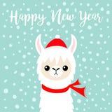 Gelukkig Nieuwjaar De babygezicht van de lamaalpaca De rode hoed van Santa Claus, sjaal Het leuke karakter van beeldverhaal grapp vector illustratie